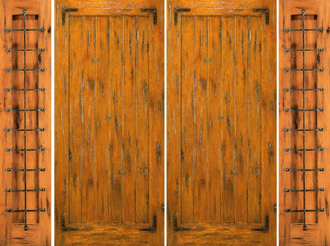 WDMA 108x96 Door (9ft by 8ft) Exterior Knotty Alder Pre-hung Double Door with Two Sidelights 1