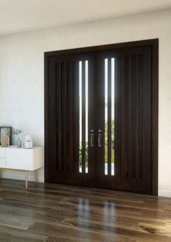 WDMA 120x80 Door (10ft by 6ft8in) Interior Swing Mahogany Mid Century Slim Lite Contemporary Modern Exterior or Double Door 1