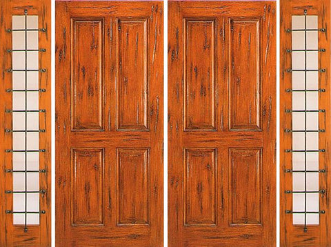 WDMA 120x80 Door (10ft by 6ft8in) Exterior Knotty Alder Prehung Double Door with Two Sidelights Entry 4-Panel 1