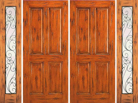 WDMA 120x80 Door (10ft by 6ft8in) Exterior Knotty Alder Double Door with Two Sidelights Entry Prehung 4-Panel 1