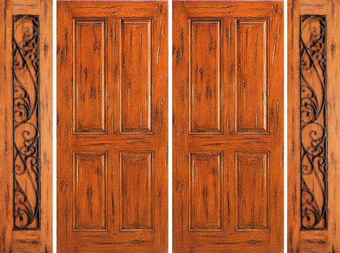 WDMA 120x80 Door (10ft by 6ft8in) Exterior Knotty Alder Entry Prehung Double Door with Two Sidelights 4-Panel 1