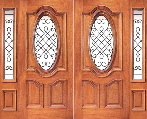 WDMA 120x80 Door (10ft by 6ft8in) Exterior Mahogany Oval Lite Double Door with Two Side lights 1