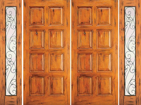 WDMA 120x80 Door (10ft by 6ft8in) Exterior Knotty Alder Double Door with Two Sidelights Entry 8-Panel 1