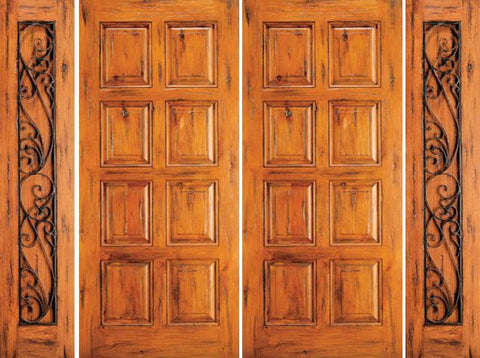 WDMA 120x80 Door (10ft by 6ft8in) Exterior Knotty Alder Entry Double Door with Two Sidelights 8-Panel 1