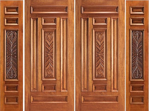 WDMA 120x80 Door (10ft by 6ft8in) Exterior Mahogany Pre-hung Entry Carved 7 Panel Double Door Two Sidelights 1