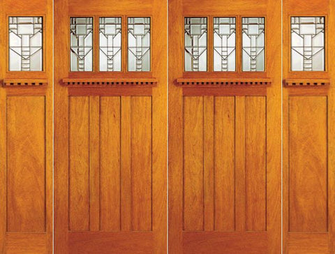 WDMA 120x80 Door (10ft by 6ft8in) Exterior Mahogany Mission Style Double Door and Two Sidelights 1