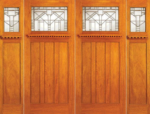 WDMA 120x80 Door (10ft by 6ft8in) Exterior Mahogany Craftsman Style Double Door and Two Sidelights 1