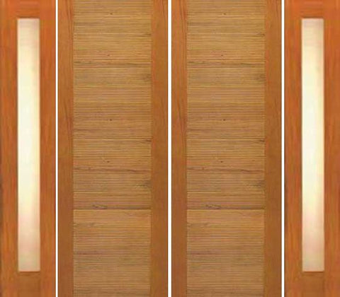 WDMA 120x80 Door (10ft by 6ft8in) Exterior Tropical Hardwood Double Door Two Sidelights Contemporary Horizontal Groove Panel 1