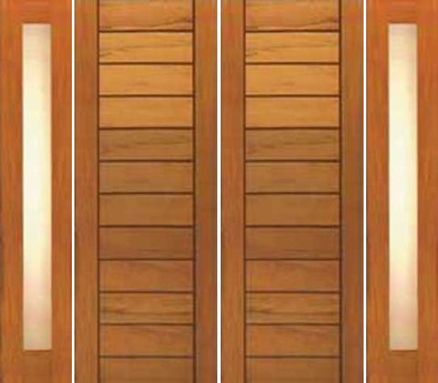 WDMA 120x80 Door (10ft by 6ft8in) Exterior Tropical Hardwood Double Door Two Sidelight Contemporary Flush Panel Solid Wood 1