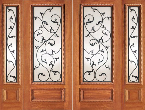 WDMA 120x80 Door (10ft by 6ft8in) Exterior Mahogany Double Door Two Sidelights Leaf design Ironwork Glass 1