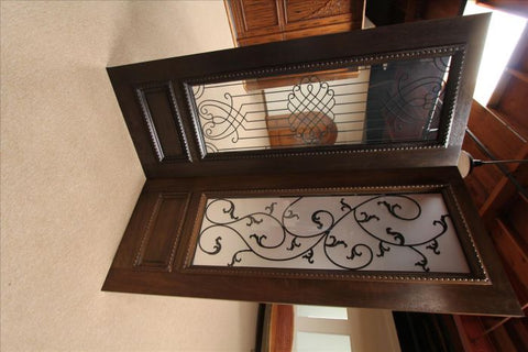 WDMA 120x80 Door (10ft by 6ft8in) Exterior Mahogany Double Door Two Sidelights Leaf design Ironwork Glass 9