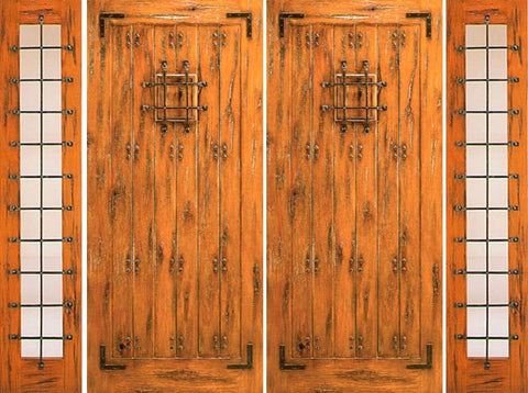 WDMA 120x80 Door (10ft by 6ft8in) Exterior Knotty Alder Double Door with Two Sidelights Entry Prehung Alder with Speakeasy 1