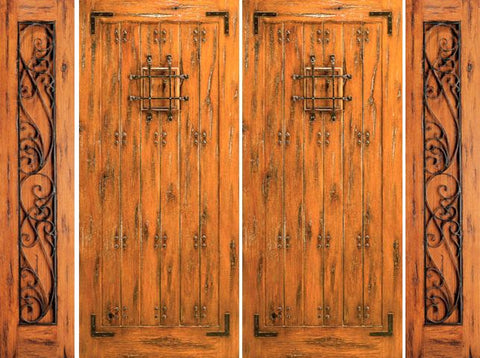WDMA 120x80 Door (10ft by 6ft8in) Exterior Knotty Alder Alder Entry Prehung Double Door with Two Sidelights Speakeasy 1