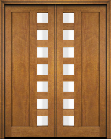 WDMA 120x80 Door (10ft by 6ft8in) Interior Swing Mahogany Mid Century 1 Panel Contemporary Modern 7 Lite Exterior or Double Door 2
