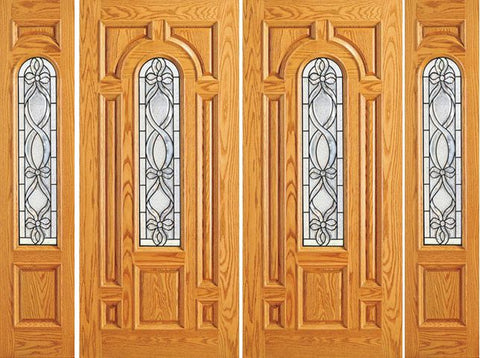 WDMA 120x84 Door (10ft by 7ft) Exterior Mahogany Prehung Center Arch Lite Home Double Door Two Sidelights 1