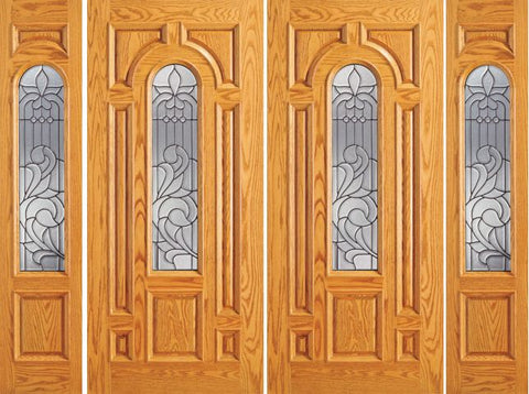 WDMA 120x84 Door (10ft by 7ft) Exterior Mahogany Prehung Center Arch Lite Front Double Door Two Sidelights 1