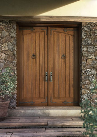 WDMA 120x96 Door (10ft by 8ft) Interior Swing Mahogany Arch Panel Rustic V-Grooved Plank Exterior or Double Door with Corner Straps / Straps 1