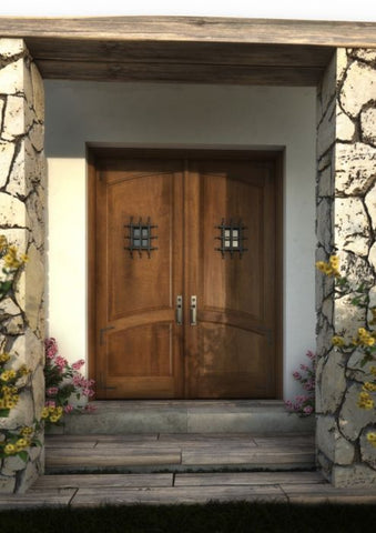 WDMA 120x96 Door (10ft by 8ft) Exterior Barn Mahogany Arch Top 2 Panel Rustic-Old World or Interior Double Door with Speakeasy and Corner Straps 1