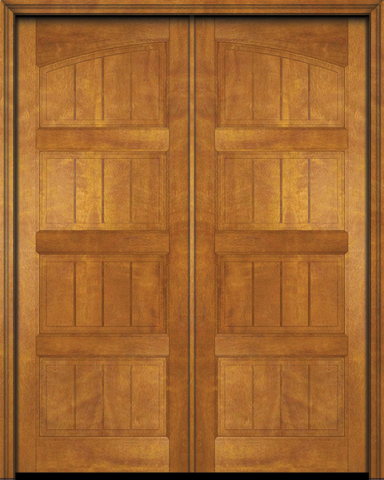 WDMA 120x96 Door (10ft by 8ft) Interior Swing Mahogany 4 Panel V-Grooved Plank Rustic-Old World Exterior or Double Door 1