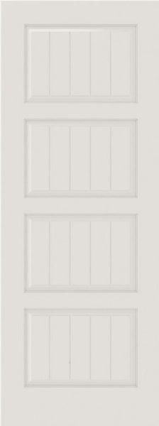 WDMA 12x80 Door (1ft by 6ft8in) Interior Swing Smooth SV4100 MDF PLANK/V-GROOVE 4 Panel Single Door 1