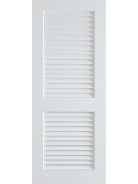 WDMA 18x80 Door (1ft6in by 6ft8in) Interior Swing Pine 80in Primed Plantation Louvers Single Door | 730 1
