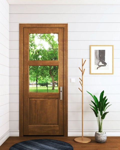 WDMA 18x80 Door (1ft6in by 6ft8in) Interior Barn Mahogany 2 Lite Over Raised Panel Exterior or Single Door 1