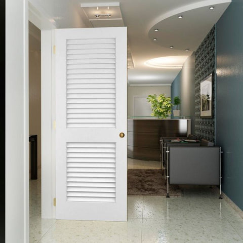 WDMA 18x96 Door (1ft6in by 8ft) Interior Swing Pine 96in Plantation Louver/Louver Primed Single Door 2