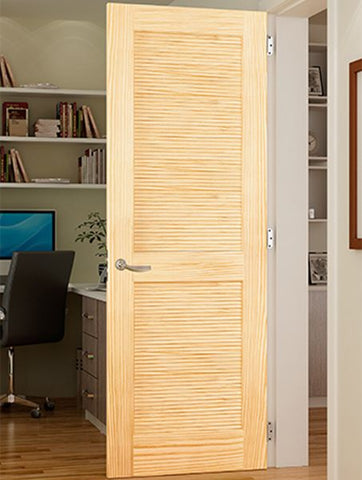 WDMA 18x96 Door (1ft6in by 8ft) Interior Swing Pine 96in Louver/Louver Clear Single Door 2