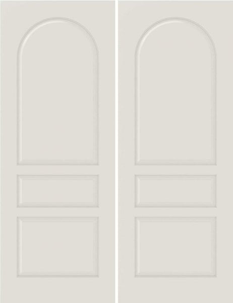 WDMA 20x80 Door (1ft8in by 6ft8in) Interior Bypass Smooth 3040 MDF 3 Panel Round Panel Double Door 1