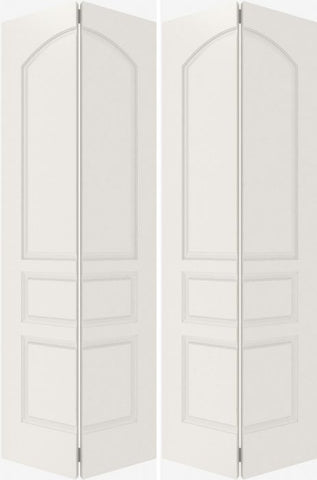 WDMA 20x80 Door (1ft8in by 6ft8in) Interior Bifold Smooth 3020 MDF 3 Panel Arch Panel Double Door 2