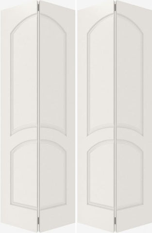 WDMA 20x80 Door (1ft8in by 6ft8in) Interior Bifold Smooth 2030 MDF 2 Panel Arch Panel Double Door 2