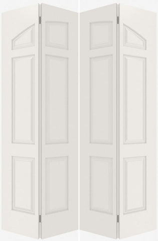 WDMA 20x80 Door (1ft8in by 6ft8in) Interior Bifold Smooth 6060 MDF Pair 6 Panel Arch Panel Double Door 2