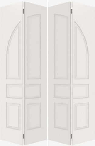 WDMA 20x80 Door (1ft8in by 6ft8in) Interior Bifold Smooth 5070 MDF Pair 5 Panel Round Panel Double Door 2