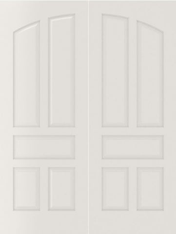 WDMA 20x80 Door (1ft8in by 6ft8in) Interior Barn Smooth 5060 MDF Pair 5 Panel Arch Panel Double Door 2