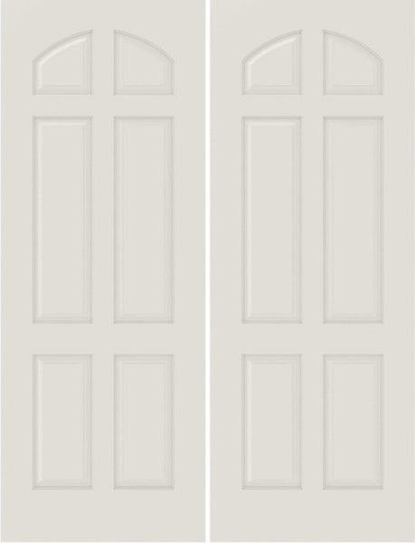 WDMA 20x80 Door (1ft8in by 6ft8in) Interior Bifold Smooth 6020 MDF 6 Panel Arch panel Double Door 1