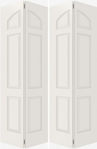 WDMA 20x80 Door (1ft8in by 6ft8in) Interior Bifold Smooth 6020 MDF 6 Panel Arch panel Double Door 2