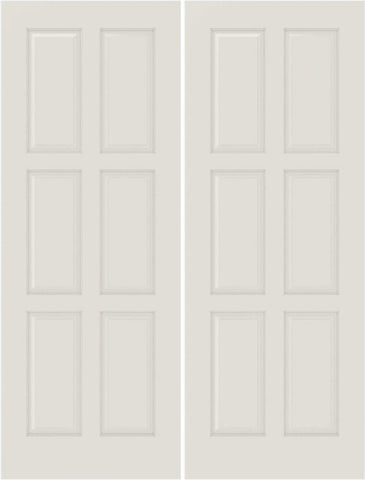 WDMA 20x80 Door (1ft8in by 6ft8in) Interior Bifold Smooth 6110 MDF 6 Panel Double Door 1
