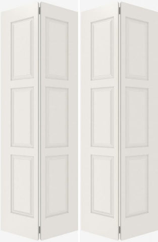 WDMA 20x80 Door (1ft8in by 6ft8in) Interior Bifold Smooth 6110 MDF 6 Panel Double Door 2