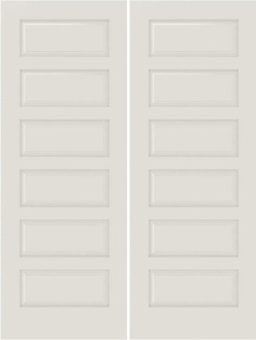 WDMA 20x80 Door (1ft8in by 6ft8in) Interior Bifold Smooth 6100 MDF 6 Panel Double Door 1