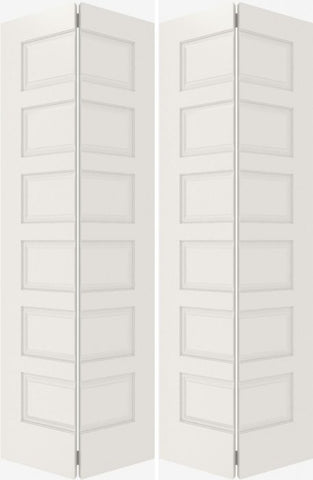 WDMA 20x80 Door (1ft8in by 6ft8in) Interior Bifold Smooth 6100 MDF 6 Panel Double Door 2