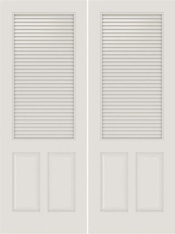WDMA 20x80 Door (1ft8in by 6ft8in) Interior Barn Smooth SL-3190-LVR-PNL MDF 3 Panel Vented Louver Double Door 1