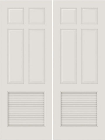 WDMA 20x80 Door (1ft8in by 6ft8in) Interior Barn Smooth SL-6010-PNL-LVR 5 Panel Vented Louver Double Door 1