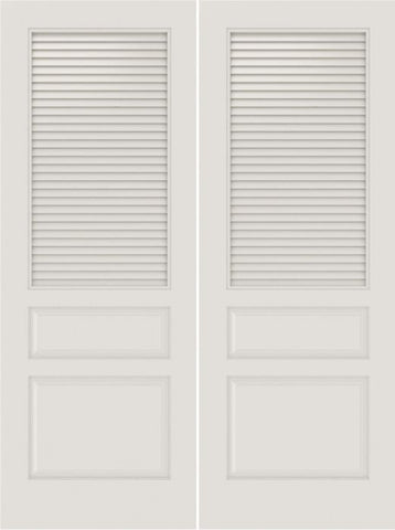 WDMA 20x80 Door (1ft8in by 6ft8in) Interior Barn Smooth SL-3010-LVR-PNL MDF 3 Panel Vented Louver Double Door 1