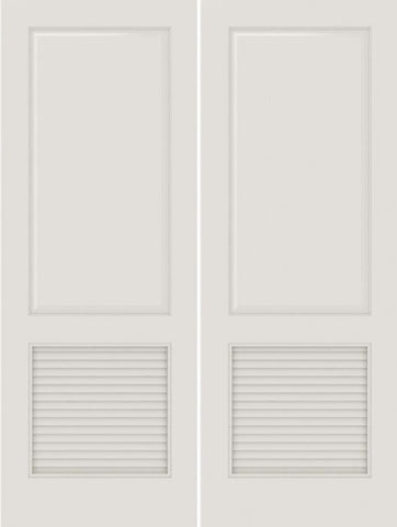WDMA 20x80 Door (1ft8in by 6ft8in) Interior Swing Smooth SL-2010-PNL-LVR MDF 2 Panel Vented Louver Double Door 1