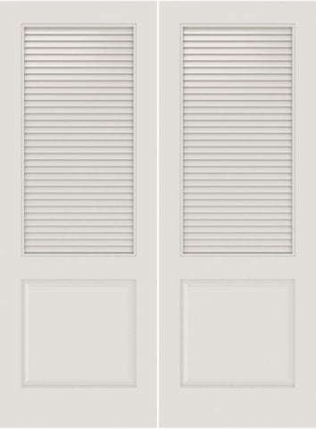 WDMA 20x80 Door (1ft8in by 6ft8in) Interior Barn Smooth SL-2010-LVR-PNL MDF 2 Panel Vented Louver Double Door 1