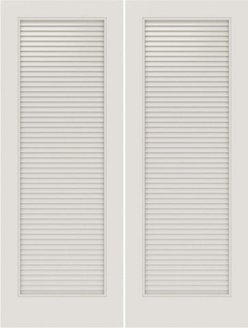 WDMA 20x80 Door (1ft8in by 6ft8in) Interior Swing Smooth SL-1010-LVR MDF Full Vented Louver Double Door 1
