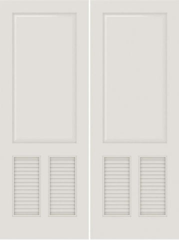 WDMA 20x80 Door (1ft8in by 6ft8in) Interior Barn Smooth SL-3190-PNL-LVR MDF 3 Panel Vented Louver Double Door 1