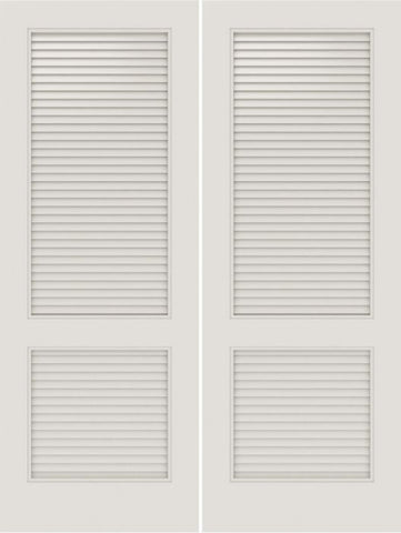 WDMA 20x80 Door (1ft8in by 6ft8in) Interior Swing Smooth SL-2010-LVRL MDF 2 Panel Vented Louver Double Door 1