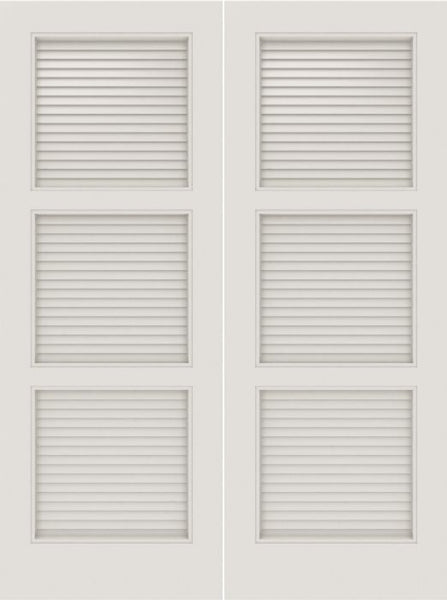 WDMA 20x80 Door (1ft8in by 6ft8in) Interior Barn Smooth SL-3100-LVR MDF 3 Panel Vented Louver Double Door 1