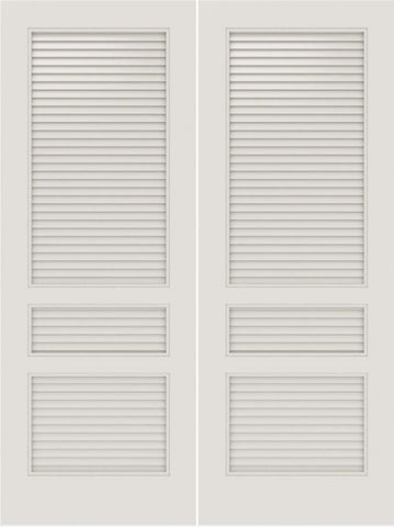 WDMA 20x80 Door (1ft8in by 6ft8in) Interior Swing Smooth SL-3010-LVRL MDF 3 Panel Vented Louver Double Door 1